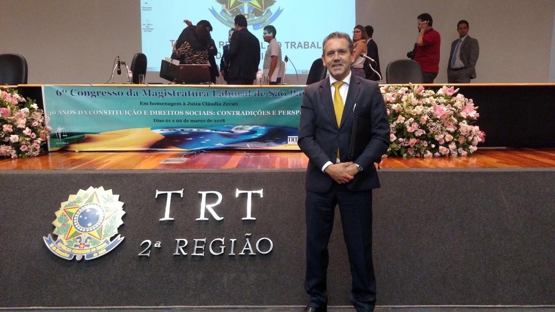 Rogério Gomez no VI Congresso da Magistratura Laboral em São Paulo.